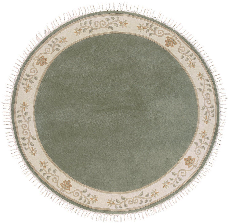 """Sona-Lux Nepal Teppich handgeknüpft grün """"Größe auswählen"""" rund 150 cm"""