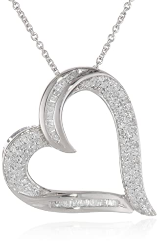 Sterling-Silver-Diamond-Heart-Pendant-Necklace-1-2-cttw-I-J-Color-I2-I3-Clarity-18-