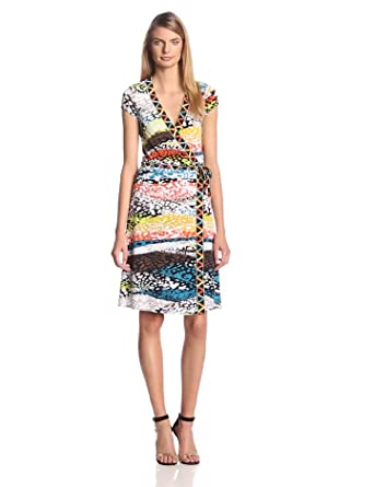 BCBGMAXAZRIA Women's Printed Jersey Short Sleeve Wrap Dress, Multi-Colored, Petite