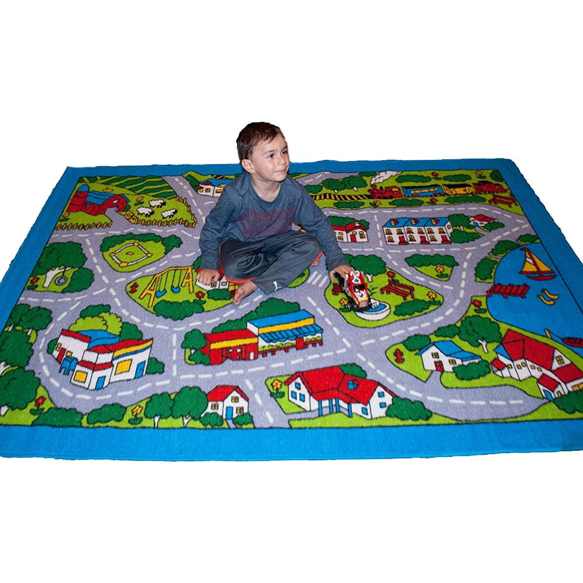 "Kids Rug Street Map in Grey 5 X 7 Children Area Rug - Non Skid Gel Backing (59"" x 82"")"
