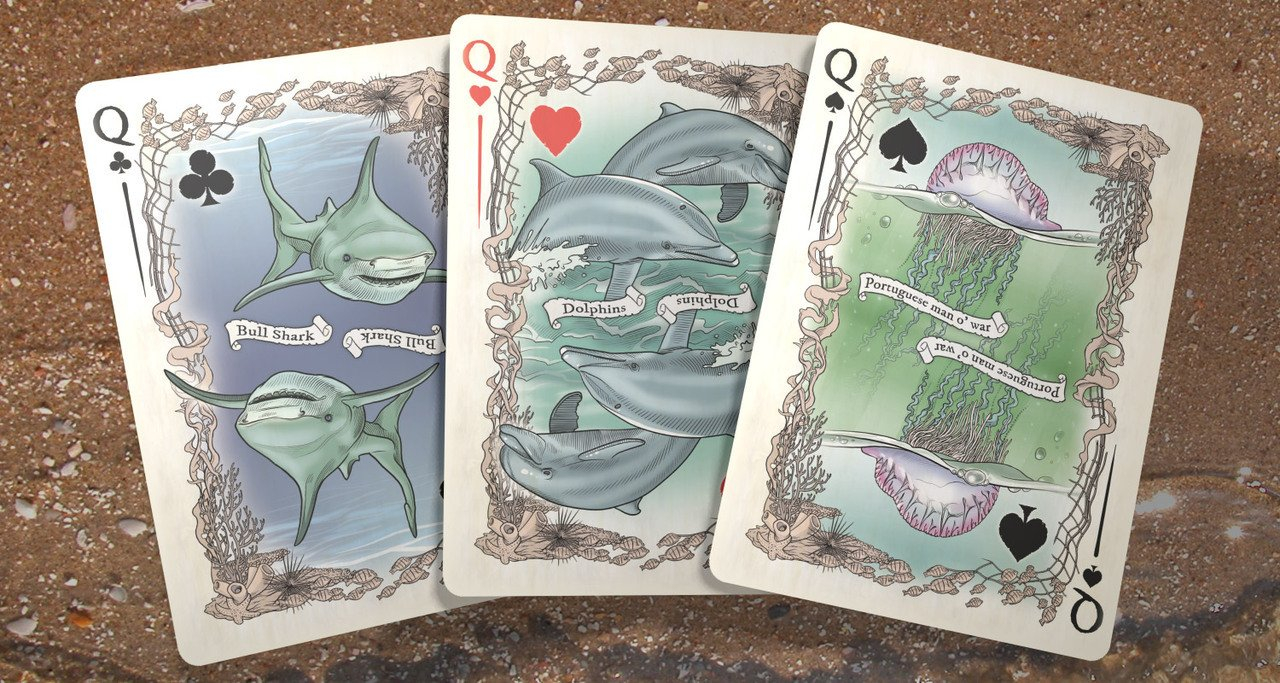 Colorized Sea Creature Themed Bicycle Playing Card Deck, Limited Edition 2