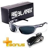 Polarized Sunglasses for Men - Women | Full UV Protection | Best Sports Shades | Comfortable Unbreakable Frame | X7 Lens Tech | Fishing Running Baseball Tennis Cycling Golf | Bonus Car Holder (Color: Gray)