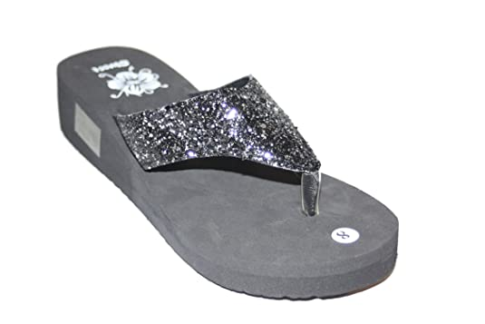 Glitter Wedge Flip Flops Womens Glitter Wedge Flip
