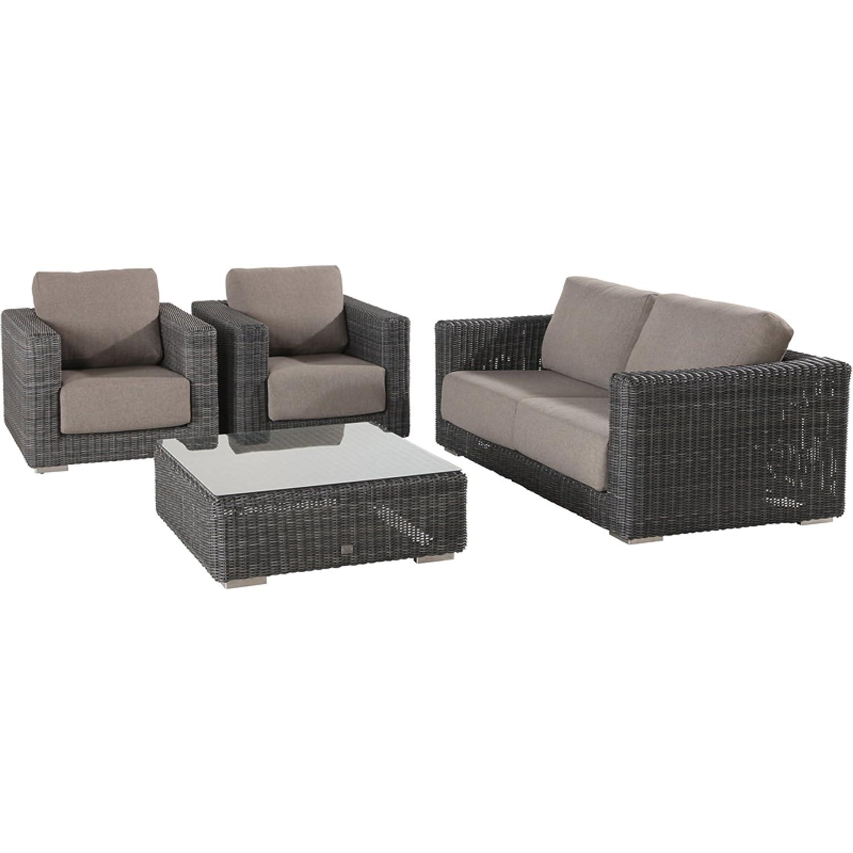 4Seasons Outdoor Somerset 4-teilige Sitzgruppe mit Tisch Polyrattan charcoal