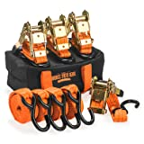 Badass Moto Gear 15' 3300 Lb Heavy Duty Ratchet Straps 4 Pk. 1100 Lb Load - 180º S Hooks Padded Ratchet Strap Set - 4 Tie Down Straps - Motorcycle, Cargo, Trailer, Truck - EZ Grip Smart Handle (Color: Safety Orange, Tamaño: 15 Ft 3300Lb Cap S Hook - 4 Pack)