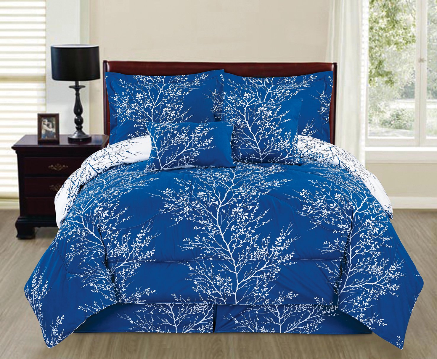 Royal blue bedding queen - 6 Piece Reversible Branches Comforter Set New Bedding Queen Royal Blue