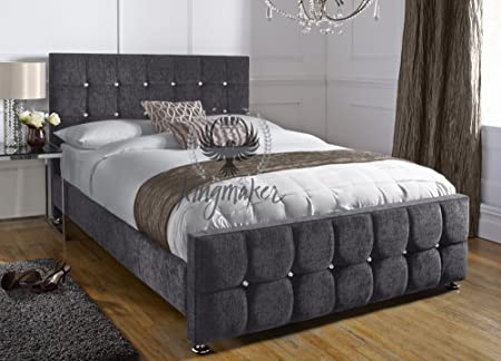 KingMakers CHARCOAL GREY Luxury 4FT6 Single Bed Crystal Diamante Upholstered Chenille Bed Frame MADE in UK