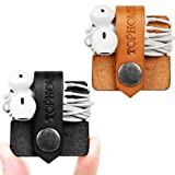 TOPHOME Cord Organizer Holder Headset Headphone Earphone Wrap Winder/ Cord Manager Cable Winder/ earphone case/ earbud organizer / Usb Cable Keeper with Genuine Leather Handmade Pack of 2 Black&Orange