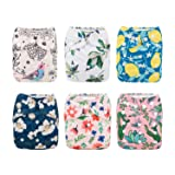 Babygoal Baby Cloth Diapers for Girls, Washable Reusable Pocket Nappy, 6pcs Diapers+6pcs Microfiber Inserts+4pcs Bamboo Inserts 6FG09 (Color: spring dreams, Tamaño: One Size)