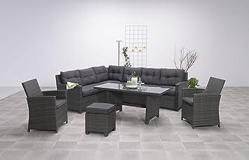 """Hohe Dinning Poly Rattan Lounge """"Aboyne"""" inkl. zwei Sesseln und einem Hocker von Garden Impressions"""