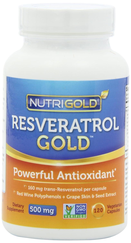 NutriGold Resveratrol GOLD 500毫克高浓度葡萄籽及红酒多酚素食胶囊 120粒 $29.21