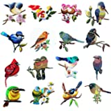 16 Pcs Iron On Cute Embroidery Bird Patches Embroidered Motif Applique Glitter Embroidery Decoration DIY Sew on Patch for Jeans, Clothing (16 Pcs) (Color: 16 Pcs)