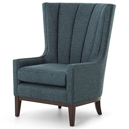 Vida Modern Classic Dark Peacock Teal Fabric Wood Wing Armchair