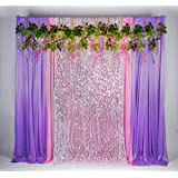 Kate Customizable(W) x16ft(H) Glitter Silver Sequins Stage Decorations Backgrounds Pink Purple Ice Silk Curtains Cloth for Wedding Party Photo Prop Pink White Flowers (Color: 11purple Pink+silver Glitter, Tamaño: Suit 5x16ft)