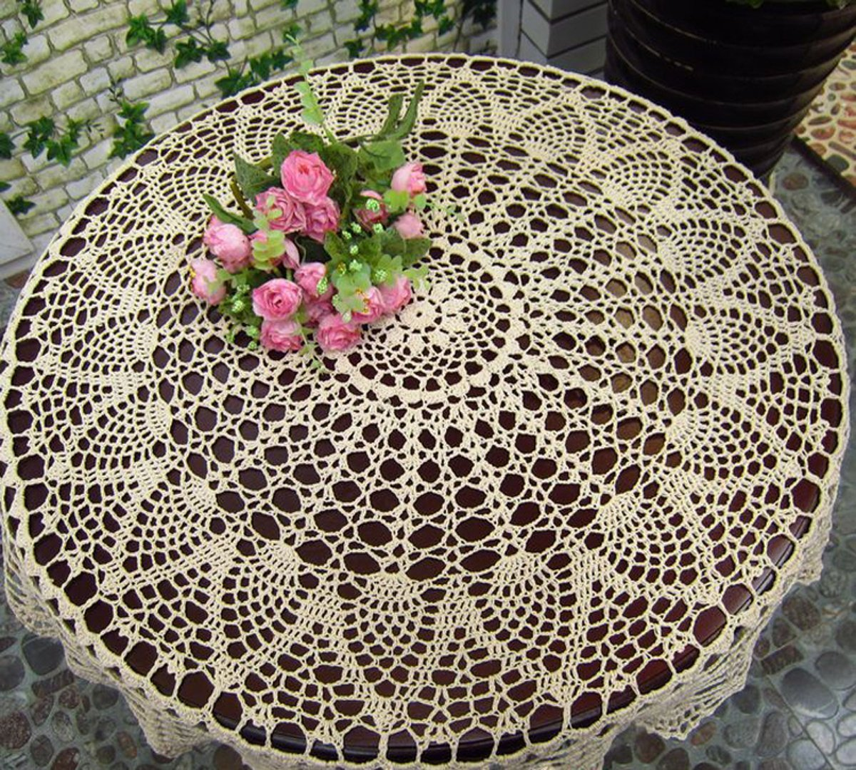 Hommey New Beige 36 Round Handmade Crochet Sunflower Lace Table Cloth Doily