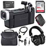 Zoom Q4n Handy Video Camera and Lavalier Microphone Deluxe Bundle w/Tascam Mixing Headphones, 64GB, Aux Cable, Case, and Xpix SD Card Case