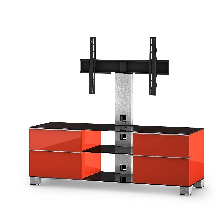 Sonorous MD 8340-B-INX-RED Fernseher-Möbel mit Schwarzglas (Aluminium Inox, Korpus Hochglanzdekor) rot