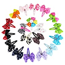 Hipgirl Boutique Girls 19pc Set Small (2.25 x 1.75) Pinwheel Snap Hair Bow Clips Barrettes-one Size in Gift Box