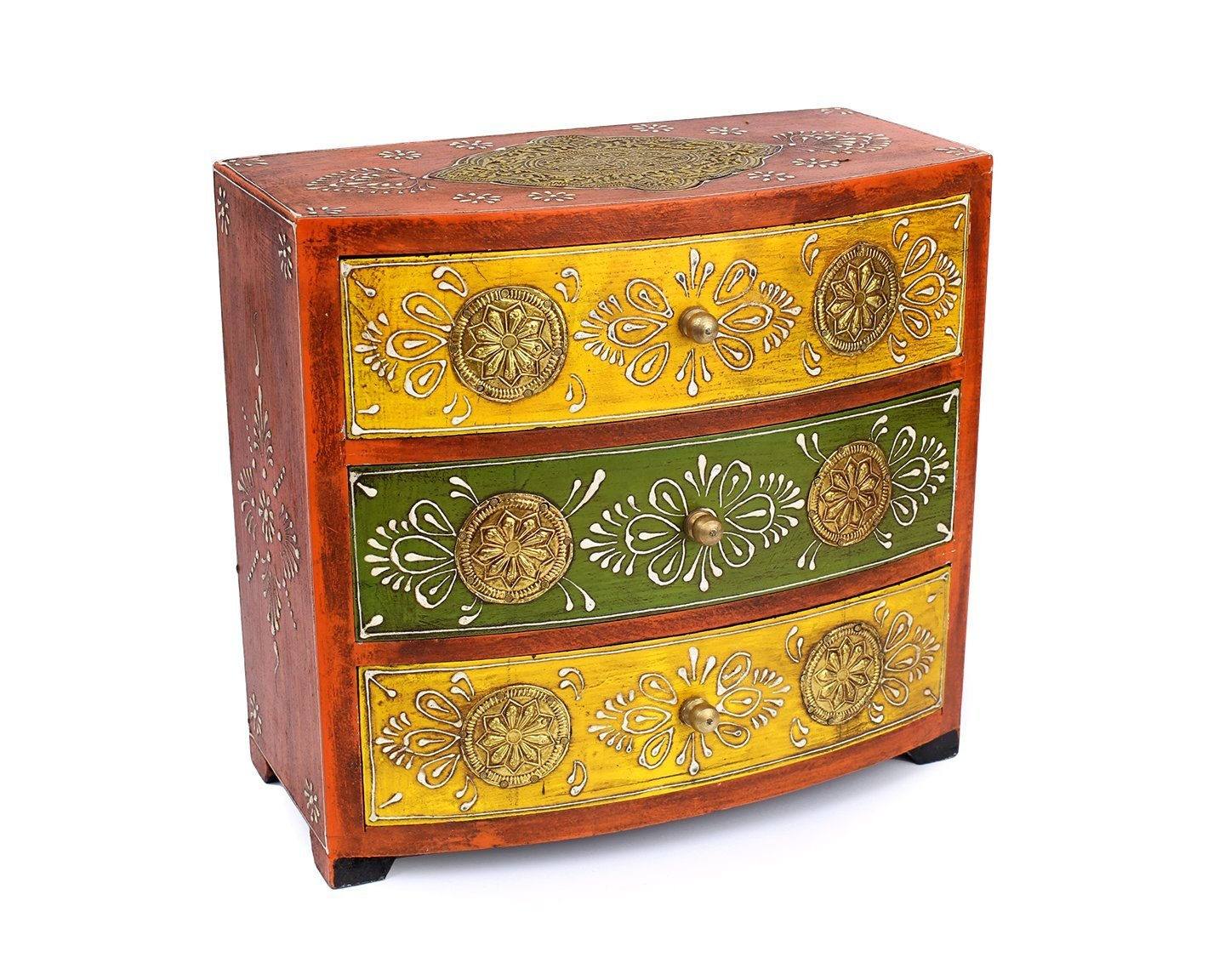 Royal Chest of 3 Drawers with Embossed Hand Painted Floral Patterns Multi-purpose Holder
