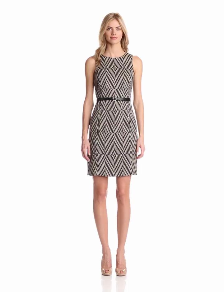 Anne Klein Womens Sleeveless Belted Print Dress, Black Combo, 8