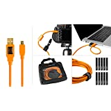 Starter Tethering Kit w/TetherPro USB 2.0 to Mini-B 5-Pin Cable, 15' (4.6m), High-Visibility Orange (Color: Orange, Tamaño: 15 feet)