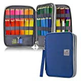 YOUSHARES 192 Slots Colored Pencil Case, Large Capacity Pencil Holder Pen Organizer Bag with Zipper for Prismacolor Watercolor Coloring Pencils, Gel Pens & Markers for Student & Artist (Blue) (Color: blue)