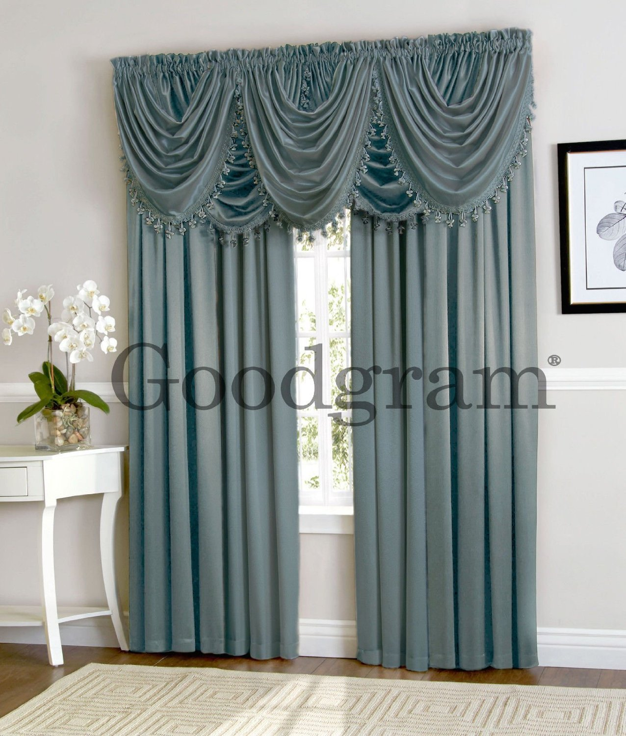 New Window Curtain Waterfall Single Fringed Valance Only 57 37 Treatments Blue Ebay
