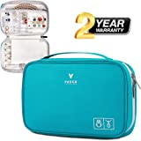 VASCO Travel Jewelry Organizer Roll - Portable Travel Jewelry Case - Compact Jewelry Bag - Jewelry Roll for Necklaces, Earrings, Rings and More - Easy to Carry Jewelry Box for Women (Color: Turquoise)