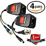 UTP balun hd Ventech cat5 to bnc video baluns transceiver passive with power connector compatible with all CCTV technologies( analog AHD TVI CVI ntsc pal ) 4 PAIRS rj45 75 ohn connectors