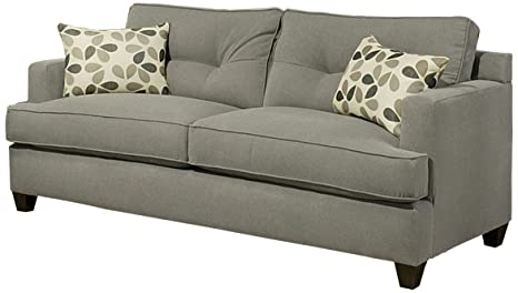 Furniture of America Parke Microfiber Fabric Sofa, 82-Inch, Gray