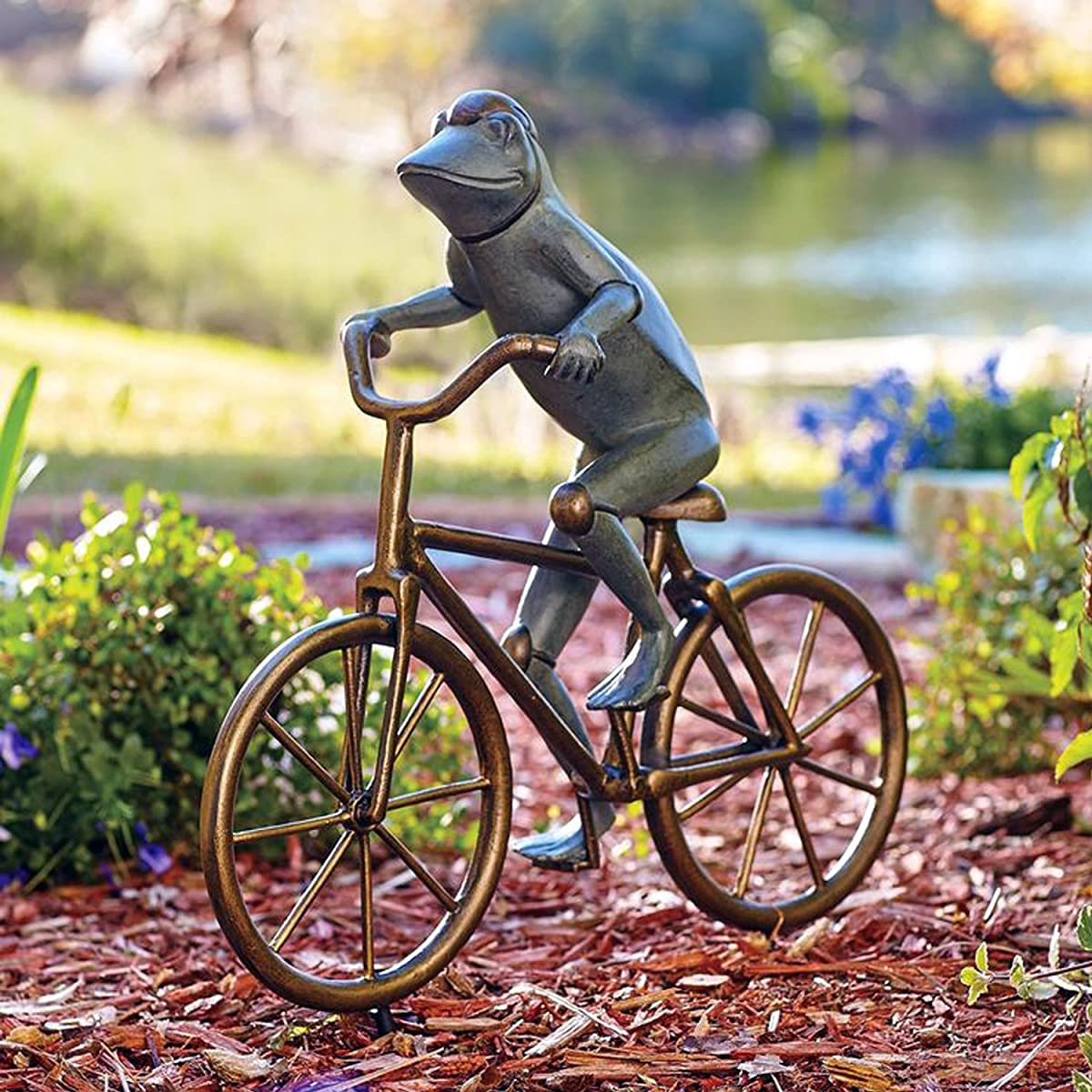 SPI Home Bronze Finish Frog on Bicycle Metal Garden Statue