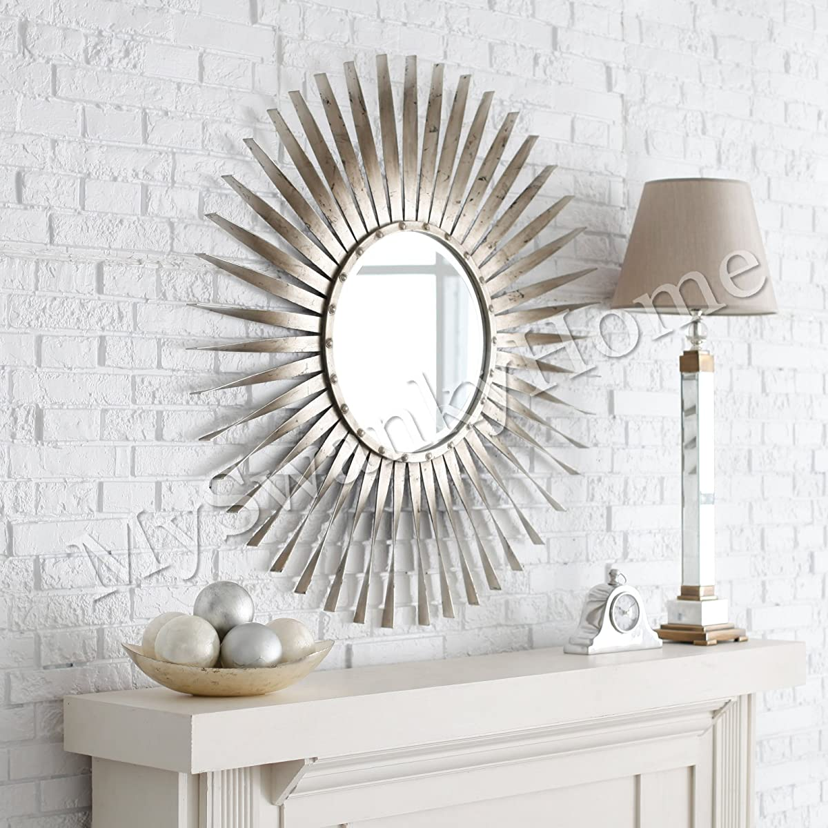 Extra Large Silver Leaf Sunburst Starburst Wall Mirror