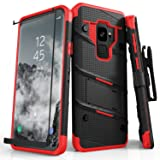 Zizo BOLT Series compatible with Samsung Galaxy S9 Case Military Grade Drop Tested with Tempered Glass Screen Protector Holster BLACK RED (Color: Black & Red)