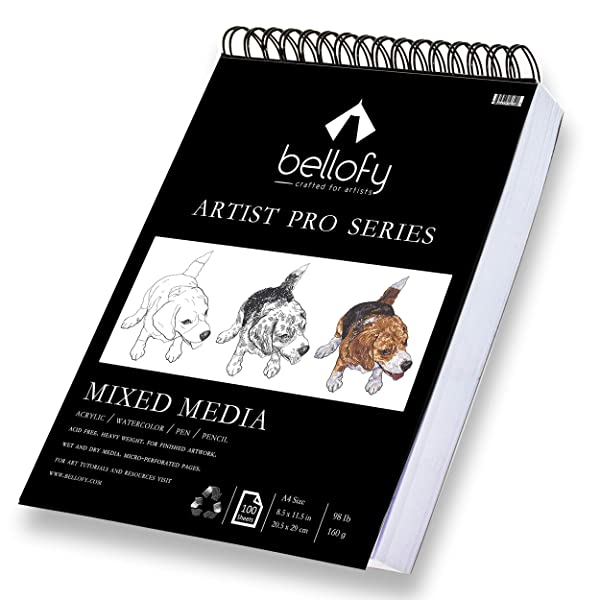 Bellofy 100-Sheet Sketchpad Artist Pro, Watercolor, Acrylic Art Pad for Sketching, Ink Sketch Book, Coloring Notebook - 98 Ib/160 g/m2-9 x 12 in Multi-Media Spiral Notebook, Drawing Paper, Drawing Pad