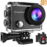 CROSSTOUR ACTION CAMERA 4K WIFI UNDERWATER CAM 16MP SPORTS Camera with Remote Control 170°Wide-angle 2 Inch LCD Plus 2 Rechargeable 1050mAh Batteries