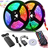 LED Strip Lights,NightScene 32.8FT LED Music Sync Color Changing Lights with 40keys Music Remote Controller and 12V5APower Supply, RGB SMD5050 300 led lights for Room, Bedroom, TV, Party. (Color: Multicolor)