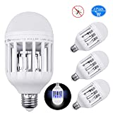 Inpher 4 Pack Bug Zapper Light Bulb, UV LED Mosquito Killer Lamp 1200LM 15W 2 in 1 Electronic Insect Killer, Fits in 110V E26 E27 Repellent Bulb Socket Base for Indoor Outdoor Porch Patio Backyard (Color: White, Tamaño: 4 pack)