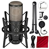 AKG Project Studio P220 Large-Diaphragm Cardioid Condenser Microphone - Deluxe Accessory Bundle With Boom Arm & More