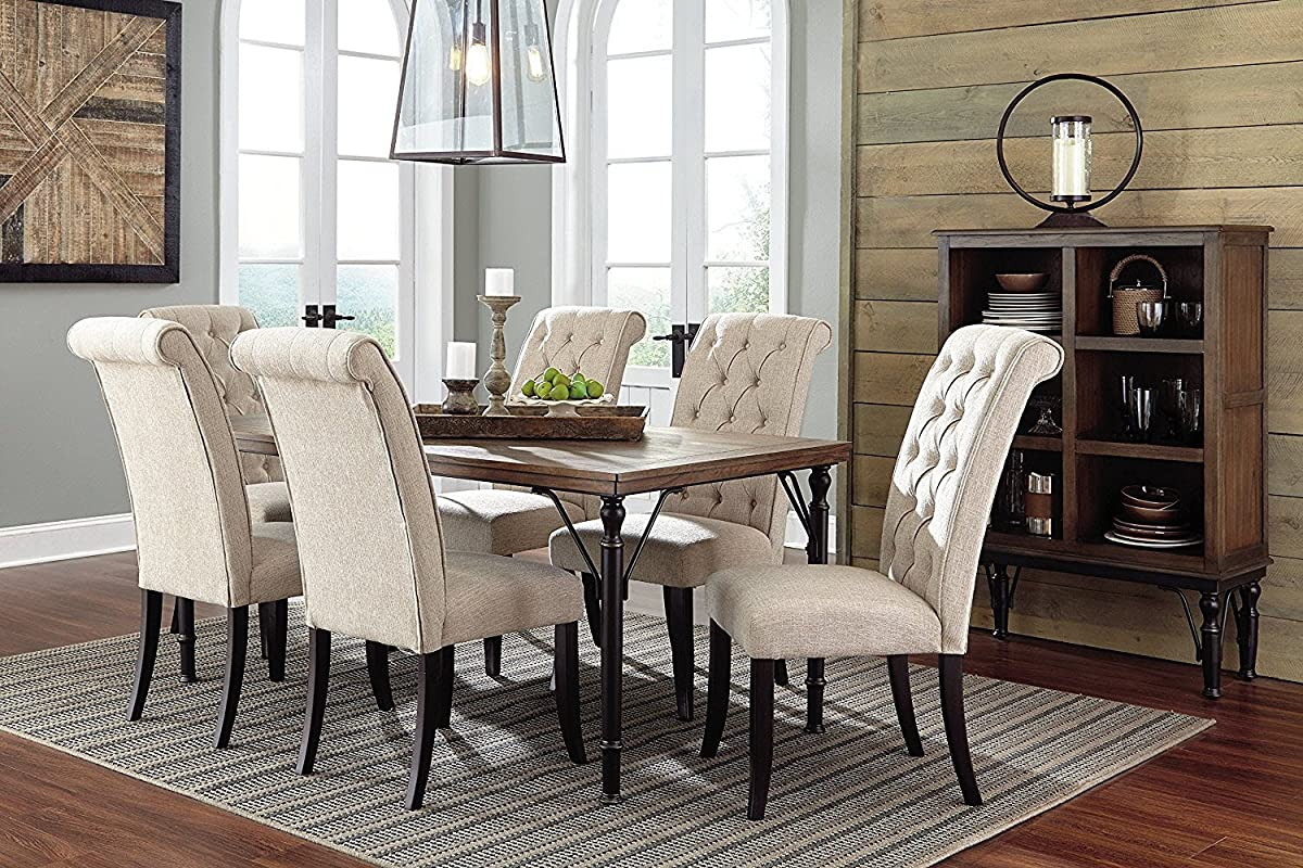 Ashley Furniture Signature Design - Tripton Dining Room Side Chair Set - Upholstered - Vintage Casual - Set of 2 - Linen