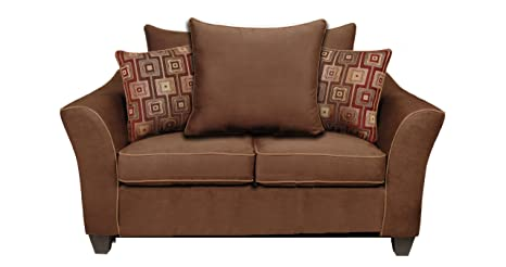 Chelsea Home Furniture Kendra Loveseat, Upholstered in Victory Chocolate/Brancusi Ruby with Victory Sepia Welt