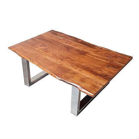 Massiver Baumstamm Couchtisch MAMMUT braun 120cm Akazie Massivholz verchromtes Kufengestell Holztisch