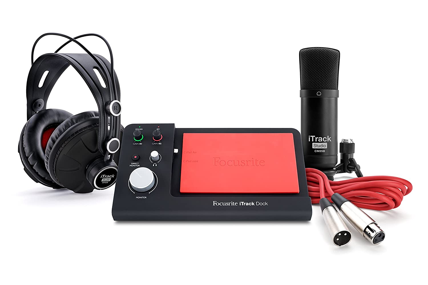 купить Focusrite iTrack Dock Studio Pack for Lightning-Compatible iPad Including Dock, Condenser Microphone, Headphones and XLR Cable недорого