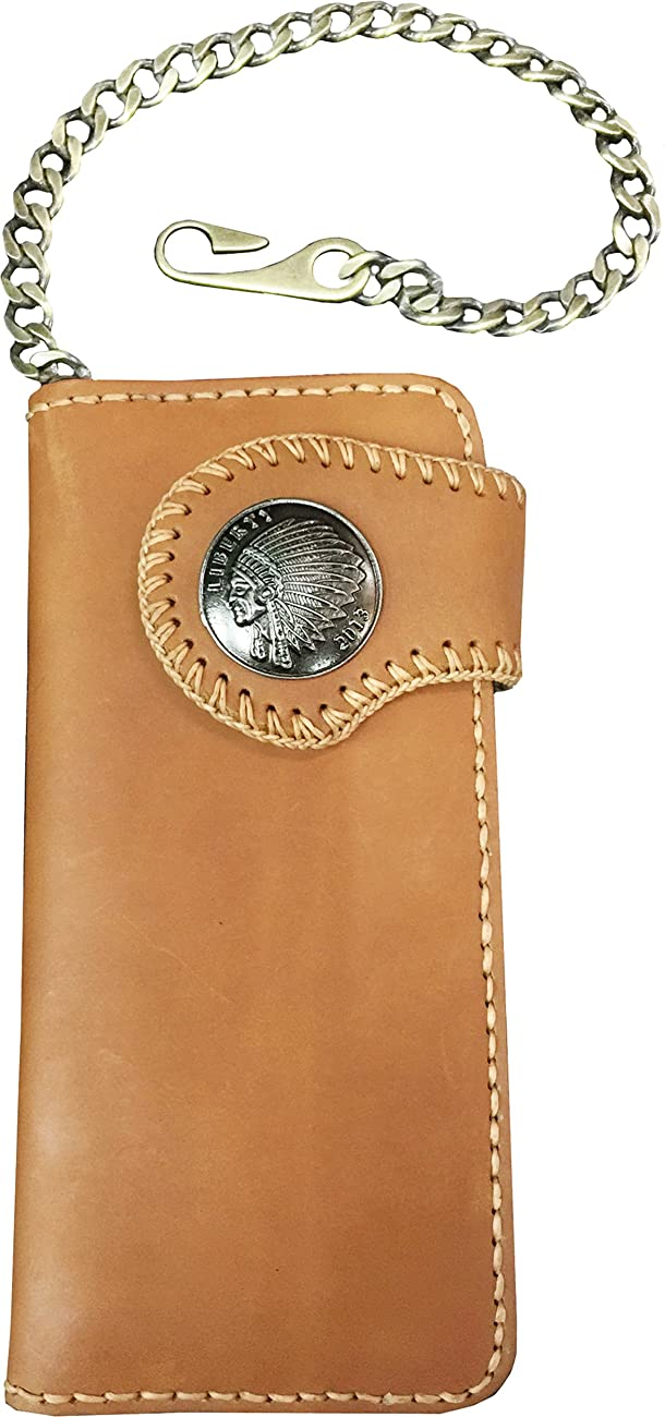 D'SHARK Men's Biker Genuine Leather Billfold Wallet with Chain (Brown) 0