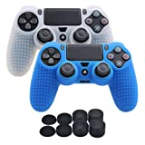 YoRHa Studded Silicone Cover Skin Case for Sony PS4/slim/Pro Dualshock 4 controller x 2(white+blue) With Pro thumb grips x 8 (Color: white&blue, Tamaño: studded pack)