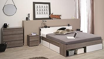 """Parisot Schlafzimmer-Set """"Most"""" Eiche-Silber/Weiß"""