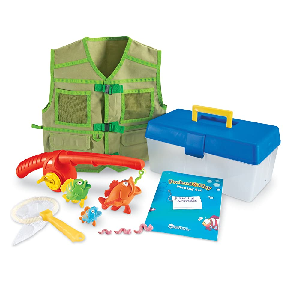 New Pretend Play Fishing Set Kids Toy Magnetic Fish Rod Vest Tackle Box Game