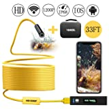 Wireless Endoscope, Wifi Borescope Inspection Camera 1200P HD IP68 Waterproof Snake Camera Semi-Rigid Cable for Android and IOS Smartphone with Carrying Case, 33FT (Color: Yellow 33ft)