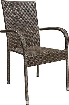 4x Alta Calidad silla de jardín silla apilable marrón Bistro silla balcón ratán silla apilable silla