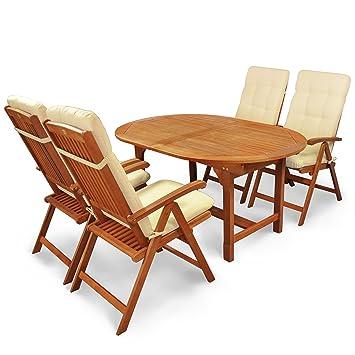 Indoba IND-70300-SSSE5 plus IND-70403-AUHL Serie Sun Shine Gartenmöbel Set, 9-teilig aus Holz, Eukalyptus/ Natur, 200x100x74 cm