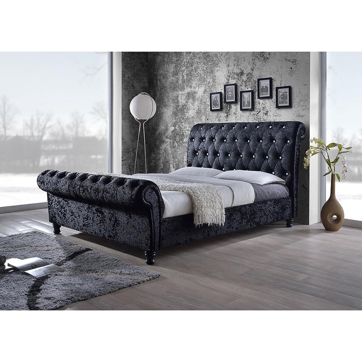 Baxton Studio Wholesale Interiors Castello Velvet Upholstered Faux Crystal-Buttoned Sleigh Platform Bed, Queen, Black